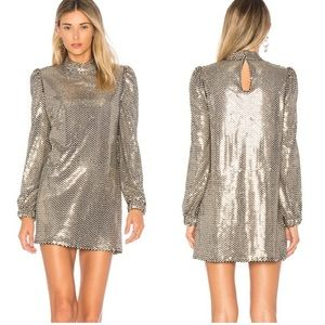 Tularosa Zulema Dress in Gold Sequin Long Sleeve